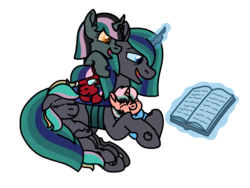 Size: 2048x1536 | Tagged: artist:kindheart525, baby, baby pony, book, changeling queen, changeling queen oc, changepony, father and daughter, father and son, female, glowing horn, horn, hybrid, interspecies offspring, kindverse, levitation, magic, magical gay spawn, male, oc, oc:farnam mouse, oc:ladybug, oc:philia agape armet, oc:pixie monster, oc:poison sweets, offspring, parent:oc:minstrel custard, parent:oc:philia agape armet, parent:oc:sheltering hooves, parent:queen chrysalis, parent:shining armor, parents:shining chrysalis, pony, safe, simple background, telekinesis, transparent background, unicorn