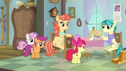 Size: 1920x1080 | Tagged: safe, screencap, apple bloom, aunt holiday, auntie lofty, scootaloo, sweetie belle, earth pony, pegasus, pony, unicorn, the last crusade, clock, clothes, cutie mark, cutie mark crusaders, female, filly, scarf, sewing machine, sweater, the cmc's cutie marks