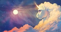 Size: 1280x685 | Tagged: safe, artist:joan-grace, princess celestia, alicorn, pony, cloud, constellation, female, signature, solo, stars, sun, sunset, surreal