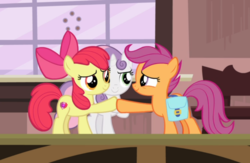 Size: 984x640 | Tagged: safe, screencap, apple bloom, scootaloo, sweetie belle, earth pony, pegasus, pony, unicorn, the last crusade, cropped, cutie mark, cutie mark crusaders, female, filly, happy, hoofbump, looking at each other, saddle bag, the cmc's cutie marks, trio
