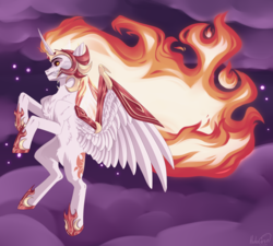 Size: 2000x1796 | Tagged: safe, artist:holocorn, daybreaker, alicorn, pony, chest fluff, cloud, crazy eyes, female, flying, mane of fire, night, sky, solo, spread wings, stars, wings