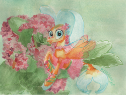 Size: 3516x2665 | Tagged: safe, artist:kelseyleah, princess skystar, seapony (g4), my little pony: the movie, clothes, female, flower, kalanchoe, solo, traditional art, watercolor painting