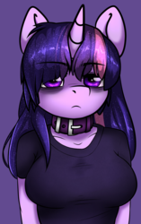 Size: 1355x2151   Tagged: safe, artist:duop-qoub, twilight sparkle, alicorn, anthro, descended twilight, bags under eyes, clothes, collar, female, mare, shirt, solo, t-shirt, twilight sparkle (alicorn)