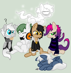 Size: 1038x1068 | Tagged: artist:lucas47-46, clothes, colt, cookie, dead, earth pony, female, filly, food, ghost, lying down, male, oc, oc:dizzie doodles, oc:hazel web, oc:late dreamer, oc only, oc:reedia mixxus, oc:sleapeazy, oc:terrance psyche, pegasus, pony, safe, sweater