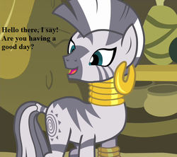 Size: 648x576 | Tagged: bronybait, cropped, cute, ear piercing, earring, edit, edited screencap, filli vanilli, jewelry, piercing, rhyme, safe, screencap, speech, zebra, zecora, zecorable, zecora's hut