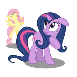 Size: 800x800 | Tagged: alternate hairstyle, avatar, edit, female, fluttershy, lesbian, pony, safe, shipping, twilight sparkle, twishy