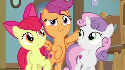 Size: 1920x1080 | Tagged: safe, screencap, apple bloom, scootaloo, sweetie belle, earth pony, pegasus, pony, unicorn, the last crusade, cutie mark, cutie mark crusaders, female, filly, the cmc's cutie marks
