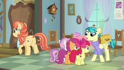 Size: 1920x1080 | Tagged: safe, screencap, apple bloom, aunt holiday, auntie lofty, scootaloo, sweetie belle, earth pony, pegasus, pony, unicorn, the last crusade, butt, clock, clothes, cup, cutie mark, cutie mark crusaders, female, filly, mare, plot, scarf, sweater, the cmc's cutie marks