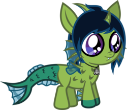 Size: 707x608 | Tagged: safe, artist:lightningbolt, derpibooru exclusive, oc, oc only, oc:demon hellspawn, half-siren, hybrid, .svg available, baby, colt, curved horn, fangs, fins, fish tail, horn, interspecies offspring, jewelry, leviathan cross, magical gay spawn, male, necklace, offspring, scales, simple background, slit eyes, solo, story included, svg, transparent background, vector