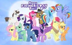 Size: 4784x2992 | Tagged: alicorn, applejack, artist:andoanimalia, artist:cheezedoodle96, artist:dashiesparkle, artist:thebosscamacho, artist:vector-brony, bow hothoof, bright mac, dad, dad six, father and daughter, father's day, father's day 2019, female, fluttershy, hondo flanks, igneous rock, male, mane six, mr. shy, night light, pinkie pie, rainbow dash, rarity, safe, twilight sparkle, twilight sparkle (alicorn)