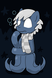 Size: 504x748 | Tagged: safe, artist:lucas47-46, oc, oc only, oc:late dreamer, monster pony, octopony, original species, bubble, clothes, female, scarf, solo, underwater