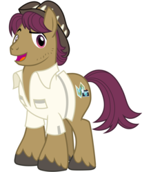 Size: 2800x3200 | Tagged: artist:cheezedoodle96, clothes, earth pony, hat, looking at you, male, open mouth, pony, raised eyebrow, safe, shirt, simple background, smiling, snap shutter, solo, spoiler:s09e12, stallion, svg, .svg available, the last crusade, transparent background, vector