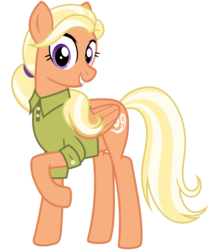 Size: 2800x3200 | Tagged: artist:cheezedoodle96, clothes, female, looking at you, mane allgood, mare, pegasus, pony, raised hoof, safe, shirt, simple background, smiling, solo, spoiler:s09e12, svg, .svg available, the last crusade, transparent background, vector