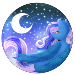 Size: 3500x3500 | Tagged: alicorn, alicorn oc, artist:doux-ameri, blushing, crescent moon, female, looking back, mare, moon, moonlight, oc, oc:fleurbelle, safe, simple background, stars, transparent background, ych result