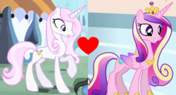 Size: 604x327 | Tagged: safe, edit, fleur-de-lis, princess cadance, pony, female, fleurdance, infidelity, lesbian, shipping, shipping domino