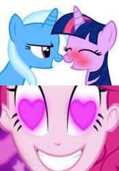 Size: 504x726 | Tagged: artist:navitaserussirus, edit, female, lesbian, pinkie pie, safe, shipping, trixie, twilight sparkle, twixie