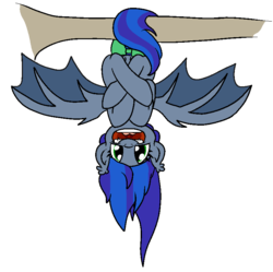 Size: 777x774 | Tagged: artist:bennimarru, bat pony, bat pony oc, colored, crossed legs, flat colors, hanging upside down, oc, oc:lunar aurora, open mouth, safe, simple background, smiling, spread wings, transparent background, tree branch, upside down, wings