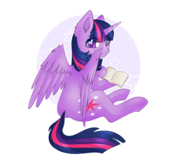 Size: 2200x2000 | Tagged: abstract background, alicorn, artist:vert-glamis, book, colored pupils, cute, dock, ear fluff, eye clipping through hair, facing away, female, mare, pony, safe, sitting, solo, stars, twiabetes, twilight sparkle, twilight sparkle (alicorn), wing fluff