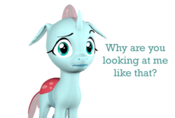 Size: 1602x1080 | Tagged: 3d, artist:pika-robo, changedling, changeling, cursed image, looking at you, ocellus, pony eyes, pony eyes edit, raised eyebrow, safe, simple background, source filmmaker, talking to viewer, text, transparent background, uncanny valley