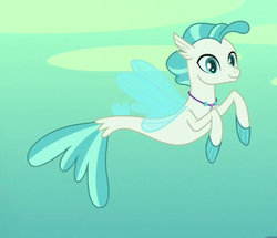 Size: 483x415 | Tagged: safe, screencap, terramar, seapony (g4), surf and/or turf, cropped, fins, jewelry, male, necklace, smiling, solo, tail