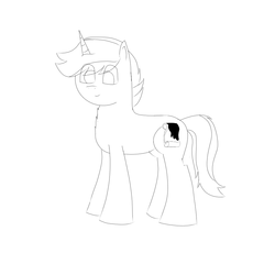 Size: 1000x1000 | Tagged: safe, artist:inky scroll, oc, oc:inky scroll, pony, unicorn, digital sketch, lineart, male, simple background, solo, white background