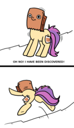 Size: 700x1200 | Tagged: safe, artist:paperbagpony, oc, oc:paper bag, earth pony, pony, comic, jumping, nervous, paper bag