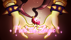 Size: 5000x2842 | Tagged: safe, artist:wubcakeva, adagio dazzle, equestria girls, equestria girls series, find the magic, spoiler:eqg series (season 2), absurd resolution, gem, music video, siren gem, solo, spiked wristband, text, title card, vector, wristband
