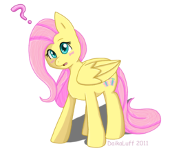 Size: 707x632 | Tagged: artist:daikaluff, blushing, cute, female, fluttershy, looking at you, mare, open mouth, pegasus, pony, question mark, safe, shyabetes, simple background, solo, transparent background