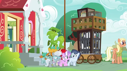 Size: 1600x900 | Tagged: bufogren, bugbear, bush, cages, cockatrice, colt, cragadile, crocodile, diamond tiara, male, mane allgood, pony, safe, screencap, shady daze, silver spoon, snails, snips, spoiler:s09e12, the last crusade, twist, unicorn