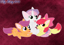 Size: 1000x702 | Tagged: apple bloom, artist:montyth, cutie mark crusaders, female, fox, foxified, safe, scootaloo, species swap, sweetie belle, trio, trio female