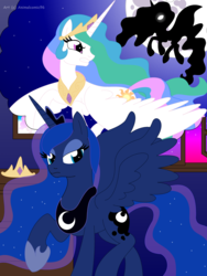 Size: 3032x4032 | Tagged: alicorn, artist:aldin1996, female, mare, moon, pony, princess celestia, princess luna, royal sisters, safe