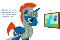 Size: 2979x2005 | Tagged: armor, artist:shadymeadow, colt, male, oc, oc:bronze brine, oc:hyper wing, oc only, pegasus, pony, safe, simple background, stallion, sword, transparent background, weapon