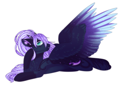 Size: 3000x2065 | Tagged: artist:tayzibubblelight, art trade, chest fluff, coat markings, ear fluff, ethereal mane, female, floppy ears, looking at you, mare, oc, oc only, pegasus, pony, raised hoof, safe, socks (coat marking), solo, spread wings, starry mane, starry wings, wings