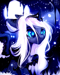 Size: 865x1080 | Tagged: alicorn, artist:anagira, better source needed, cave, cropped, curved horn, edit, female, floppy ears, gift art, horn, horn jewelry, i can't believe it's not magnaluna, jewelry, mare, moon, pony, princess luna, redesign, safe, solo, speedpaint available, stalactite, style emulation, tiara