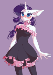 Size: 3000x4251 | Tagged: safe, artist:jun1313, rarity, anthro, unicorn, beautiful, blushing, breasts, choker, clothes, curved horn, delicious flat chest, dress, female, flatchestity, frilly, frilly dress, frilly socks, horn, mare, purple background, shoulderless, simple background, socks, solo, stockings, thigh highs