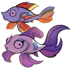 Size: 669x633 | Tagged: artist:andypriceart, cropped, cute, fish, fishified, idw, majestic, maybe salmon, not salmon, rainbow dash, rainbow trout, rarifish, rarity, safe, simple background, species swap, spoiler:comic, spoiler:comic78, transparent background, wat