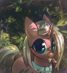 Size: 1200x1302   Tagged: safe, artist:mirroredsea, clear sky, pony, unicorn, common ground, ascot, biting, cute, cute sky, dappled sunlight, eye clipping through hair, female, forest, hair bite, leaf, looking at you, mane noms, mare, nibbling, nom, solo, tree