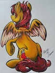 Size: 1587x2083 | Tagged: safe, artist:gleamydreams, oc, oc:fireblitz, pegasus, pony, female, looking away, looking in the distance, mare, one hoof raised, orange eyes, pegasus oc, prismacolors, red hair, sitting, solo, spread wings, traditional art, wings