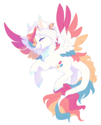 Size: 1117x1384 | Tagged: artist:shady-bush, colored wings, female, mare, multicolored wings, oc, oc:glee, pegasus, pony, safe, simple background, solo, transparent background, wings