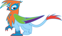 Size: 1920x1113 | Tagged: edit, female, fusion, gilda, griffon, griffonized, lidded eyes, palette swap, ponyar fusion, rainbow dash, rainbow griffon, recolor, safe, simple background, solo, species swap, transparent background, vector, vector edit