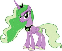 Size: 1920x1566 | Tagged: alicorn, edit, ethereal mane, female, fusion, hoof shoes, mare, palette swap, pony, ponyar fusion, princess luna, recolor, safe, simple background, solo, spike, transparent background, vector, vector edit