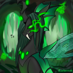 Size: 5000x5000 | Tagged: absurd res, artist:raeverran, cave, changeling, glowing eyes, queen chrysalis, safe