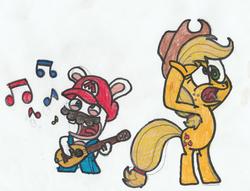 Size: 1803x1377 | Tagged: safe, artist:drquack64, applejack, earth pony, pony, applejack's hat, bipedal, cowboy hat, crossover, guitar, hat, mario + rabbids kingdom battle, rabbid, rabbid mario, traditional art