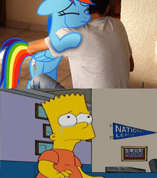 Size: 1020x1152 | Tagged: artist:brandonale, bart simpson, crossover, fanfic:my little dashie, human, irl, irl human, pegasus, photo, pony, rainbow dash, safe, the simpsons