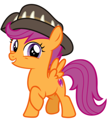 Size: 2800x3200 | Tagged: artist:cheezedoodle96, cute, cutealoo, cutie mark, female, filly, hat, looking at you, pegasus, pony, raised hoof, safe, scootaloo, simple background, smiling, solo, spoiler:s09e12, spread wings, svg, .svg available, the cmc's cutie marks, the last crusade, transparent background, vector, wings