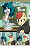 Size: 1080x1649 | Tagged: adorkable, artist:shinodage, chalkboard, cheating, classroom, clothes, comic, comic:delta vee's junkyard, cute, delta vee's junkyard, dialogue, diaveetes, dork, earth pony, eye clipping through hair, eyeroll, female, flirting, freckles, glasses, human shoulders, male, mare, oc, oc:delta vee, oc:jet stream, oc only, oc x oc, paper, pegasus, pen, pfft, pony, safe, semi-anthro, shipping, shirt, short neck, sitting, speech bubble, stallion, sweater, teenager, test, tongue out, turtleneck, younger