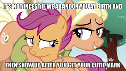 Size: 960x540 | Tagged: caption, clothes, cutie mark, earth pony, edit, edited screencap, family, female, filly, foal, hug, image macro, implied incest, insane troll logic, logical fallacy, mane allgood, mare, pegasus, pony, safe, scootaloo, scootaloo's parents, screencap, shirt, spoiler:s09e12, text, the cmc's cutie marks, the last crusade, trio, winghug