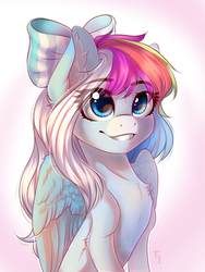 Size: 1200x1600 | Tagged: artist:falafeljake, bow, chest fluff, commission, ear fluff, female, hair bow, mare, oc, oc only, oc:rainbow dreams, pegasus, pony, safe, sitting, smiling, solo, ych result