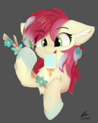 Size: 4000x5000 | Tagged: artist:lunar froxy, cheek fluff, chest fluff, cute, cuteluck, ear fluff, earth pony, eye clipping through hair, female, flower, fluffy, glue, mare, mouth hold, pony, roseluck, safe, scene interpretation, silly, silly pony, simple background, smiling, solo, spoiler:s09e11, stick, student counsel