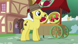 Size: 1920x1080 | Tagged: safe, screencap, country roads, earth pony, pony, the last crusade, spoiler:s09e12, apple, apple cart, background pony, food, hat, male, mouth hold, ponyville, solo, stallion